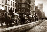 Horse-Drawn Wagons removing snow in New York City