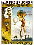 "French poster shows aerialist Fontaine, labeled one of ""le heros"