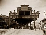 The elevated railway at Delaware and South Station 1900's