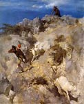 Pan running after by a goat Arnold Bocklin
