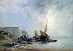 Boats near the shores of Normandy Richard Parkes Boningtonkes