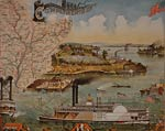 Steamboats on river American Southern States Poster