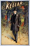 Harry Kellar magician with his cane, poster