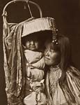 Apache girl and papoose - domestic Indian life