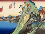 High Rocks by a Lake Ando Hiroshige