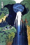 Amida Waterfall, Three Men Picnicking Katsushika Hokusai