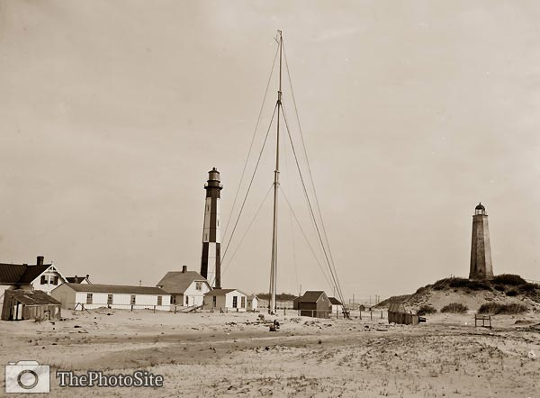 Cape Henry light houses, old and new, Virginia 1905 - Click Image to Close