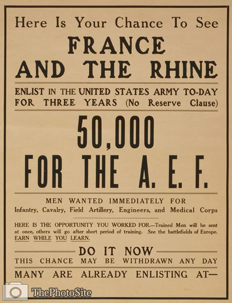 Your chance to see France and the Rhine WWI Poster - Click Image to Close