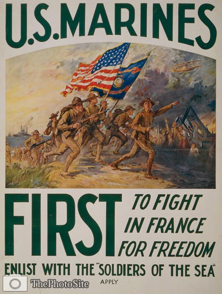 U.S. Marines - first to fight in France World War I Poster - Click Image to Close