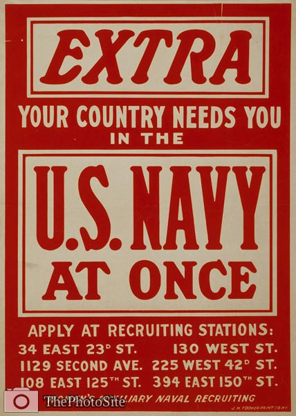 Your country needs you in the U.S. Navy World War I Poster - Click Image to Close