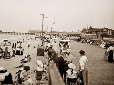 Board walk and beach, Asbury Park, New Jersey