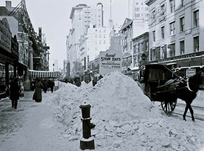 Snow in New York, Broadway after storm 1905