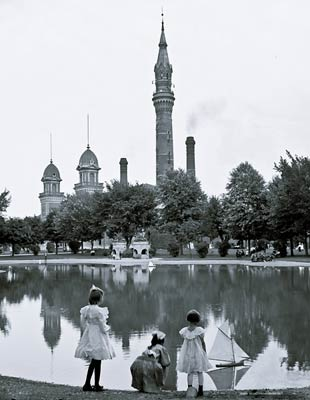 Children playing with yacht Water Works Park Detroit 1905