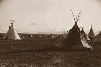 Piegan Native Indian encampment, Tepees