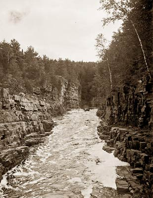 Ausable Chasm, New York boat entering canyon rapids