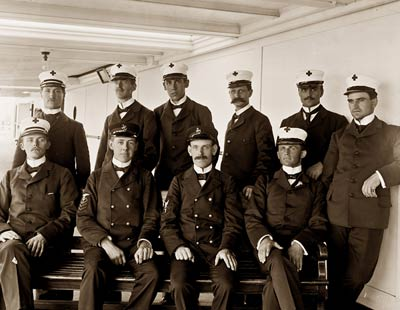 USS Solace Hospital Ship. Apothecaries and nurses 1898