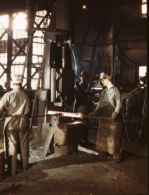 Steam drop hammer, blacksmith shop 1943