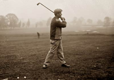 Jerome D. Travers playing golf, Baltusrol