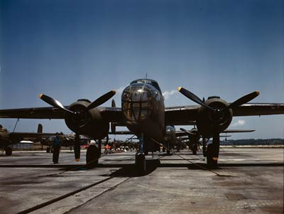 B-25 Bombers, outdoor assembly line