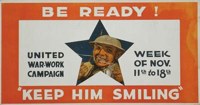 Be ready! Keep him smiling WWI Poster