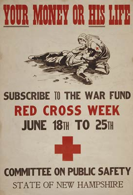 Your money or his life Subscribe to the war fund WWI Poster