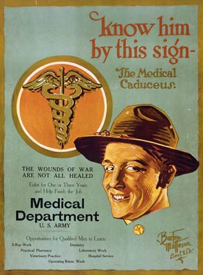 The medical caduceus U.S. Army Medical Department WWI Poster