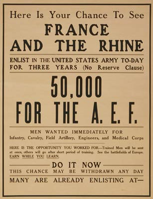 Your chance to see France and the Rhine WWI Poster