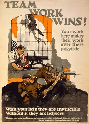Team work wins! Man making machine gun. World War One Poster