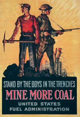Stand by the boys in the trenches - Mine more coal WWI Poster