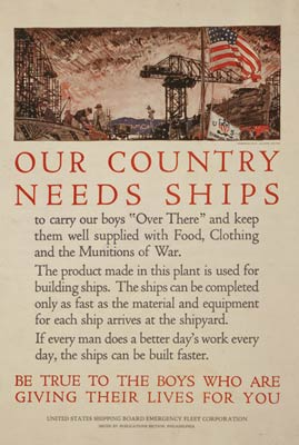 Our country needs ships - shipyard scene - WWI Poster
