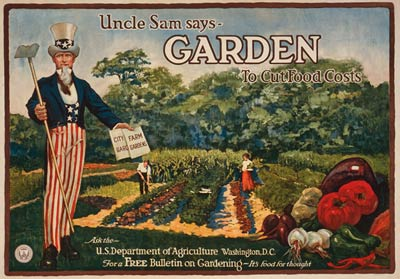 Uncle Sam says - garden to cut food costs. World War One Poster