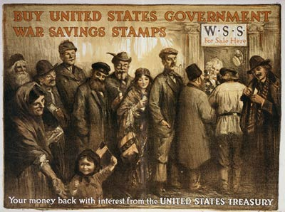 Buy United States government war savings stamps WWI Poster