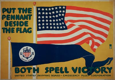 Put the pennant beside the flag - World War I Poster