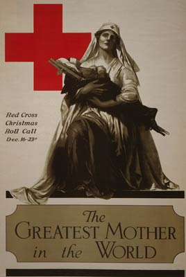 Nurse cradling a wounded soldier - World War I Poster