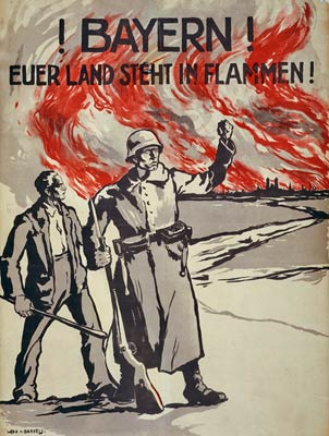Bavarians! Your land is burning! German WWI Poster