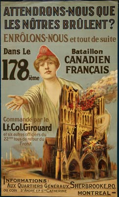 Marianne - burning cathedral - artillery attack War Poster