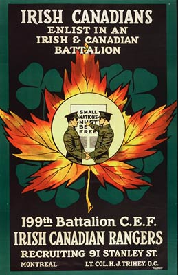 Irish Canadians - maple leaf and shamrock - WWI Poster
