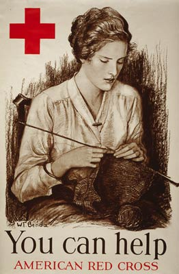 Young Woman Knitting Red Cross WWI Poster