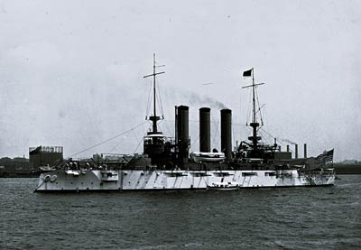 U.S.S. Maine battleship, broadside 1905