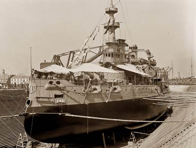 U.S.S. Oregon Battleship, docked Brooklyn Navy Yard 1898