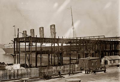 Lusitania ship docking at new Hudson River piers 1908
