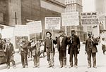 Unemployed men carrying signs, New York 1909