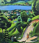 Landscape at the Tegersee with Reading Man and Dog August Macke