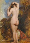 Study of a female nude, from behind, standing in a pool by trees