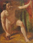 Study of a male nude, crouching, his left hand holding a wooden