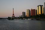Eiffel Tower in evening, looking out across river Seine, Paris