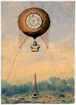 Captive balloon with clock face and bell, floating above the Eif