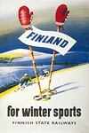 Vintage travel poster - Finnish State Railways (Ski Finland)