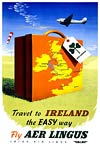 Fly Aer Lingus, Travel to Ireland, Travel Poster