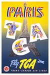 Paris - fly tca vintage travel poster